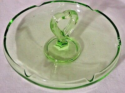 Vintage Vaseline Green Uranium Scalloped Candy Dish with Heart Handle