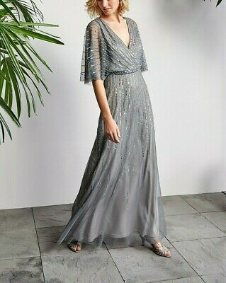 Adrianna Papell Beaded Kimono-Sleeve Gown MSRP $279 Size 6 # 11NA 81 Blm