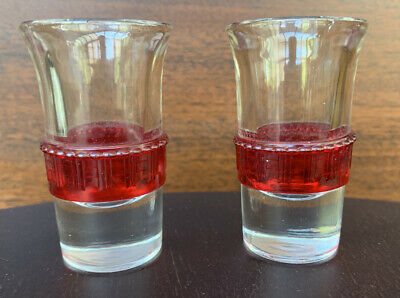 set/ 2 VINTAGE BLADE RUNNER Shot Glasses Red Celluloid Bands ART DECO