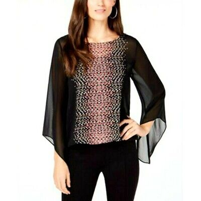 Alfani Womens Size PM Black Pink Angel Sleeve Blouson Top NWT