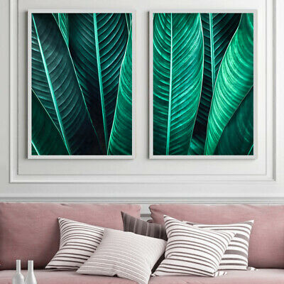 Botanical Wall Art Set Tropical Leaves Painting Green Art Print Poster A4 - A1