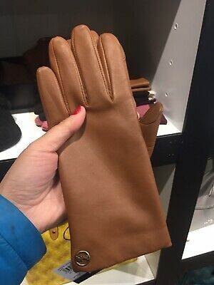 NWT Coach Ladies Sheepskin Leather Tech Gloves Lined F76310 Size 7.5 Saddle