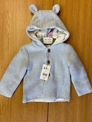 "Ex Chainstore ""Mothercare"" Light Blue Knitted Cardigan With Hood 2 With Tags"