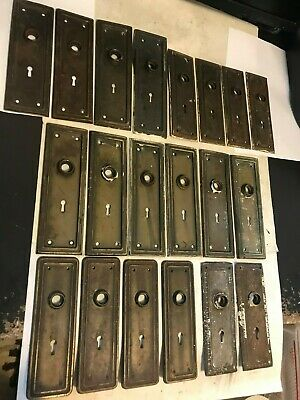LOT of 20 ANTIQUE SHABBY MISSION ART CRAFT DECO CRAFTSMAN STEEL DOOR KNOB PLATES