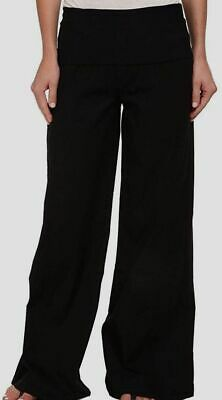 $284 XCVI Women's Black Solid Flared Swooping Wide Leg Casual Pants Size S