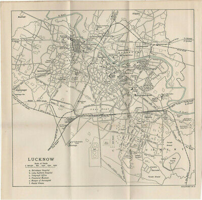 Vintage Print India/Pakistan Map Lucknow With Hospitals Mosque & Jail 1955