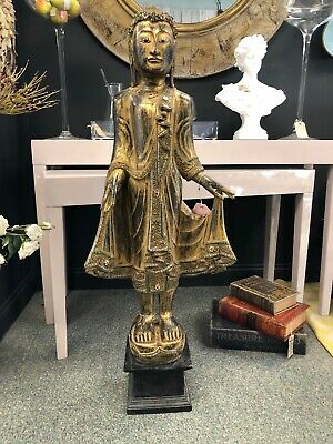 Thai Buddha Statue 1.2 M Tall Sculptured Wood Carving Religious Figure