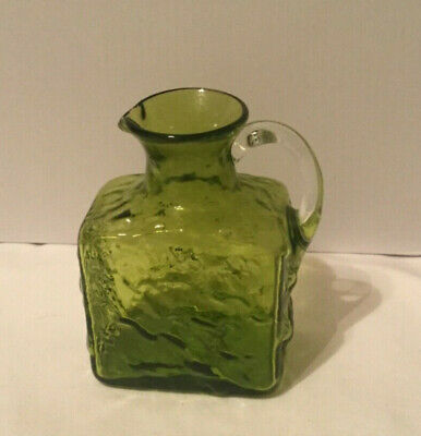 """Blenko Pilgrim Hand Blown Small Square Green Pitcher with Clear Handle 4.5"""" tall"""