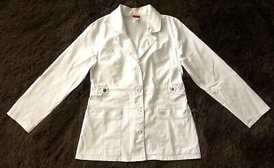 Women's Dickies Brand White, Long Sleeve, 2 Pocket, Button-Front Lab Coat - sz M