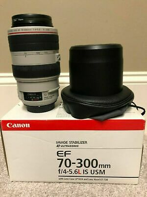 LNIB Canon EF 70-300mm f/4-5.6L IS USM with Hood, Pouch, UV Filter  - Free S&H!