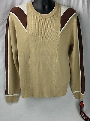 Vintage White Stag Sweater Shirt XL NWT 80s Tan Brown Men's Wool Acrylic
