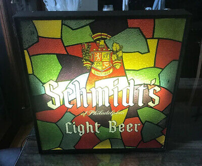 Schmidt's Light Beer Philadelphia Light Up Sign Stained Glass