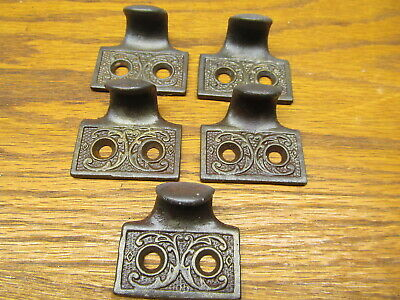 Lot Of 5 Old Cast Iron Window Sash Lifts...ornate ..Appothecary Cabinet Pulls
