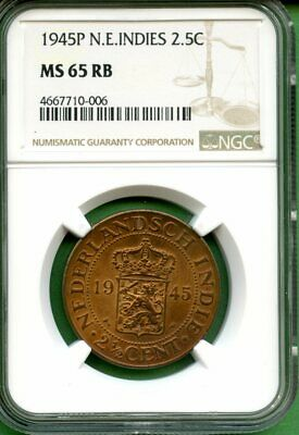 Indonesia  1945P  2.5 Cent    N.e.indies   Ngc Ms 65Rb  Copper