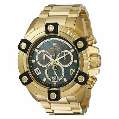 Invicta 0340 Men's Reserve Arsenal Chronograph Black MOP Dial Gold Tone St Watch