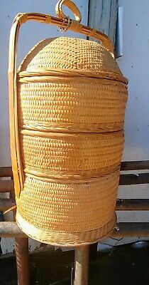 Large Vintage Chinese Wedding Basket Bamboo With Beautiful Design 22' tall