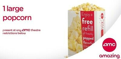 AMC theatres 1 Large Popcorn vouchers E-Delivery - exp 6/30/2020