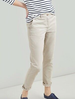 BNWOT JOULES ivory beige slim leg soft cotton HESFORD chinos trousers size 6 L29