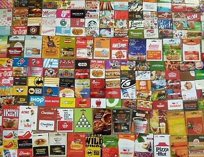Gift Card - LOT of 204 Cards - Collectible /No Value - FOOD THEME- Each Pictured