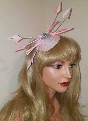SALE NOW ON !! Pink & Silver Arrow Feather Fascinator band by Fascinators 4U