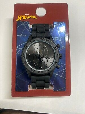 Marvel Spider-Man Adult Watch Black Silicone Wristband Peter Parker NIP