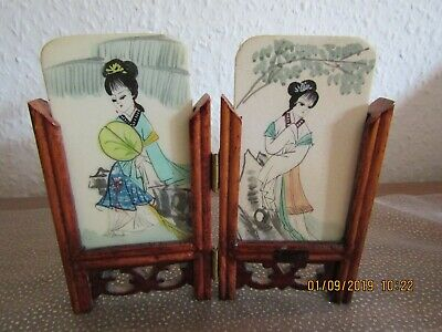 Lovely, Small Table Screen With Handpainted Stone Plaques Of Geishas.