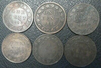6 - Canada Large Cents 1884 1888 1890 H 1893 1900 H 1901 Victoria Canadian Coins