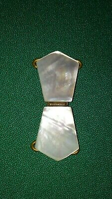 Antique Victorian Mother of Pearl Shell Belt Buckle With Brass Latch & Hardware