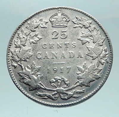 1917 CANADA - UK King George V - Authentic Original SILVER 25 CENTS Coin i82524