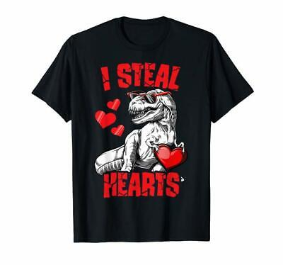 Boys Valentines Day Kids Dinosaur T rex Lover I Steal Hearts T-Shirt Size S-5XL