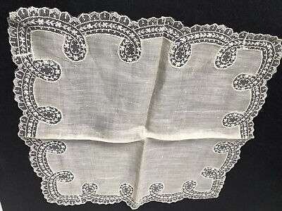 Vintage Brussels Hand Embroidery Ribbon Net Lace Bobbin Scalloped Hankie Lovely