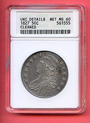 1827 50C Capped Bust Silver Half Dollar. ANACS Graded MS 60 Details. Lot #388