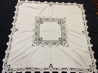 """GORGEOUS Vintage Cotton Hand Crocheted(?)Embroidered Tablecloth  32"""" x 32"""" White"""