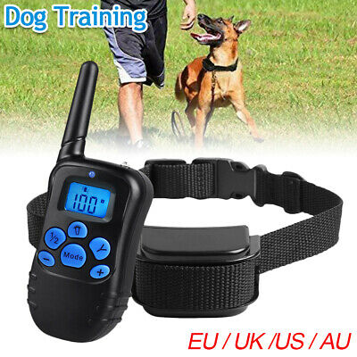 IP68 Pet Dog Training Collar Rechargeable Electric Shock LCD Anti-bark 800M CA