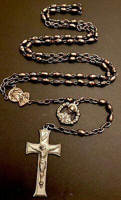 Vintage Stainless Bead Rosary, Jesus Center, Silver Tone Crucific, Mary Charm