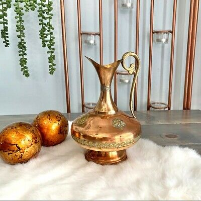 Vintage Copper and Gold Pitcher Ewer