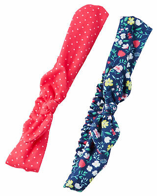 Carter's Baby Girls' 2 Pack Floral Dots Bow Headwrap, 3 Months +