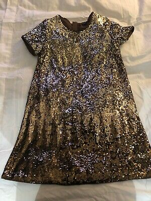 Marks And Spencer Girls Dress Age 11-12 Sequin Dress Autograph Gold/brown In Vgc