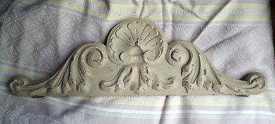 Antique French solid carved wooden pediment pale grey paint, time worn