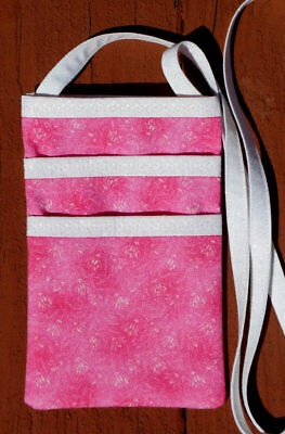 Cross Body Pink Dainty Flowers Floral Pouch Purse Wallet Cell Phone Handmade