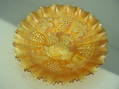 1920s Northwood carnival glass bowl marigold - Grape and cable variant