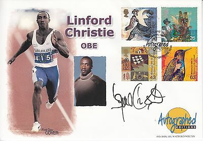 Linford Christie hand-signed Autographed Editions FDC Sprinter Athletics