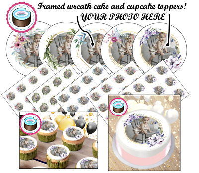 YOUR OWN EDIBLE PHOTO (FRAMED WREATH) cake or cupcake topper, personalised image