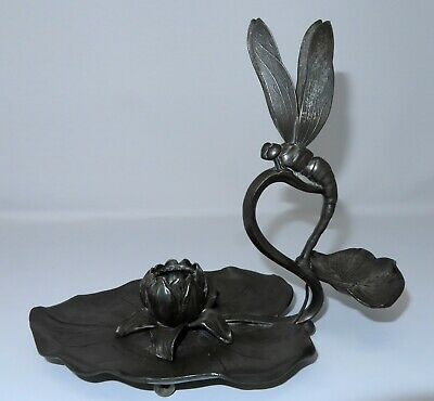AMAZING 1800's Art Nouveau Pewter Dragon Fly Finger Loop Candle Stick Holder