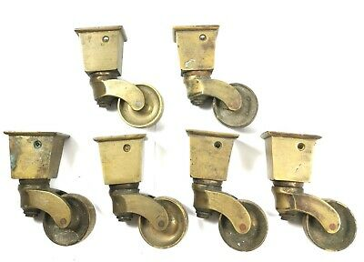6 Antique solid brass Victorian Casters wheels