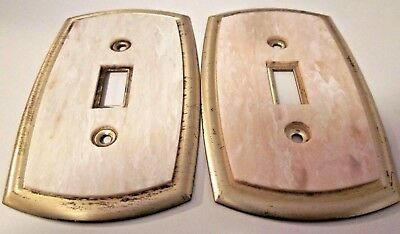 Dilly Lot 2 Switch Wall Plate Covers Marbled Bakelite Brass Plated Steel Vintage