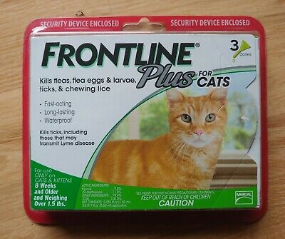 FRONTLINE Plus Flea & Tick Treatment for CATS 1.5LBS & Over, 3 Doses, NEW:)