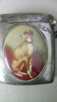 Sterling Silver Vesta Match Case with Enamel Painting of Whippet