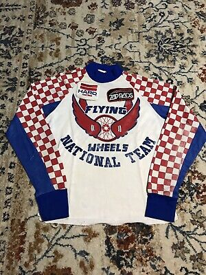 Vintage 80s Youth Bmx Racing Jersey Long Sleeve Shirt Checkered