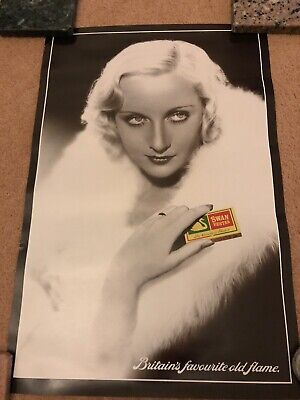 Swan Vesta  Poster Britain's Favourite Old Flame. Very Rare.